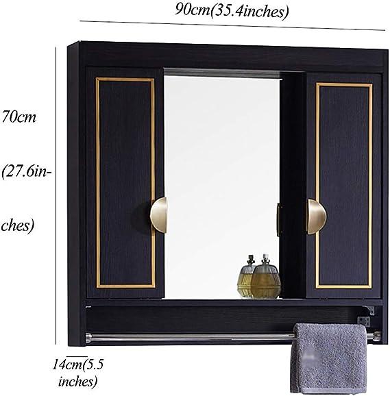 Muebles de baño Armarios de Pared Mueble De Espejo De Baño Espejo Oculto Diseño De Puerta Corredera con Toallero Estilo Ligero Armarios (Color : Black, Size : 80 * 14 * 70cm): Amazon.es: Hogar