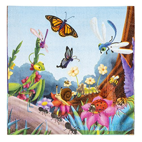 (Cocktail Napkins - 150-Pack Luncheon Napkins, Disposable Paper Napkins Bugs Party Supplies for Kids Insect-Themed Birthdays, 2-Ply, Unfolded 13 x 13 Inches, Folded 6.5 x 6.5 Inches)