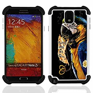 /Skull Market/ - For Samsung Galaxy Note3 N9000 N9008V N9009 - 3in1 h????brido prueba de choques de impacto resistente goma Combo pesada cubierta de la caja protec -