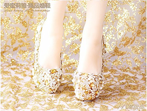 Crystal VIVIOO Women'S 7 Bride Super Shoes Dress Heel Shoes Flower Shoes Prom Sandals Heel Waterproof Golden Wedding TrwqTt