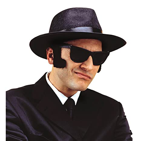 Favoris Noirs Jumbo Blues Brothers Barbe Rouflaquettes Favori Faux Joues