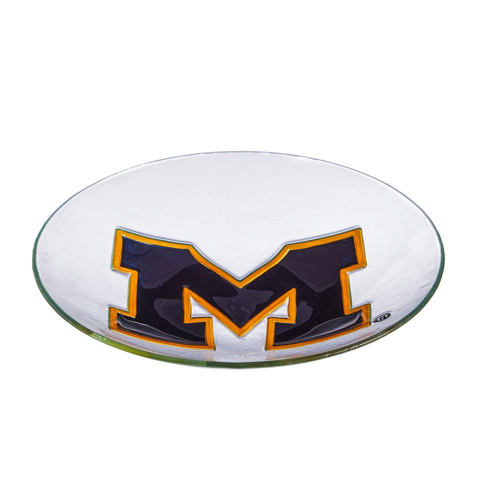 Team Sports America University of Michigan Glass Birdbath Bowl, 18 inches