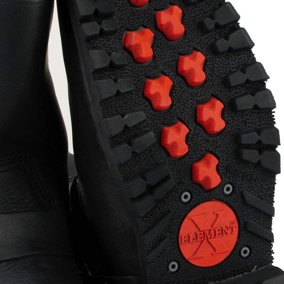 9.5 Xelement 1443 Mens Black Harness Motorcycle Biker Boots with Lug Sole