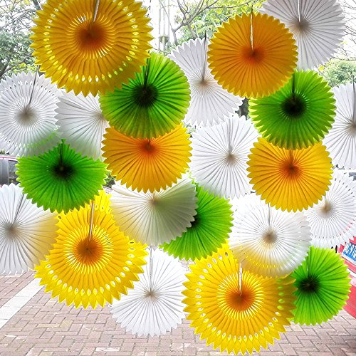 Raylinedo/® Pack of 3PCS Orange Tissue Paper Fan For Wedding Birthday Anniversary Party Christmas Girls Room Decoration Diameter 20cm