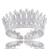 Santfe 2 3/5 ''Height Cubic Zirconia CZ Wedding Bride Crown Tiara Headband Hair Jewelry Accessories
