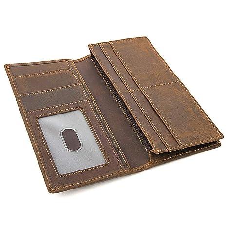 Carteras de Cuero para Hombres RFID Bloqueo Monedero Bolsillo Boarding Pass Clip (Color : Marrón