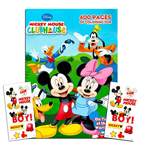 400 Coloring Pages Puzzles and Activities Disney Mickey Mouse Clubhouse Gigantic Coloring Book Set with Stickers