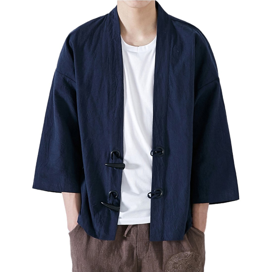 INVACHI Fashion Men's Cotton Blends Linen Cloak Open Front Cardigan Kimono Jackets