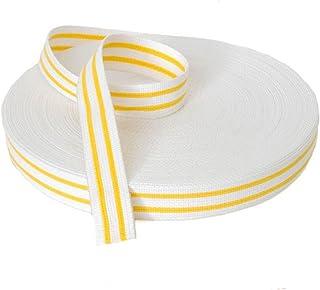 Ceinture de judo 50 m, blanc/2 traits jaunes VISIODIRECT