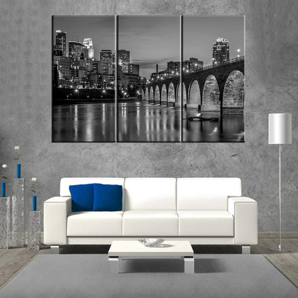 Canvas Print Wall Art Painting for Home Decor Black and White Minneapolis Skyline Night Buildings Cityscape Coastline Paintings Artwork Pictures City Pictures Photo Prints On Canvas 40''x20''x3pcs