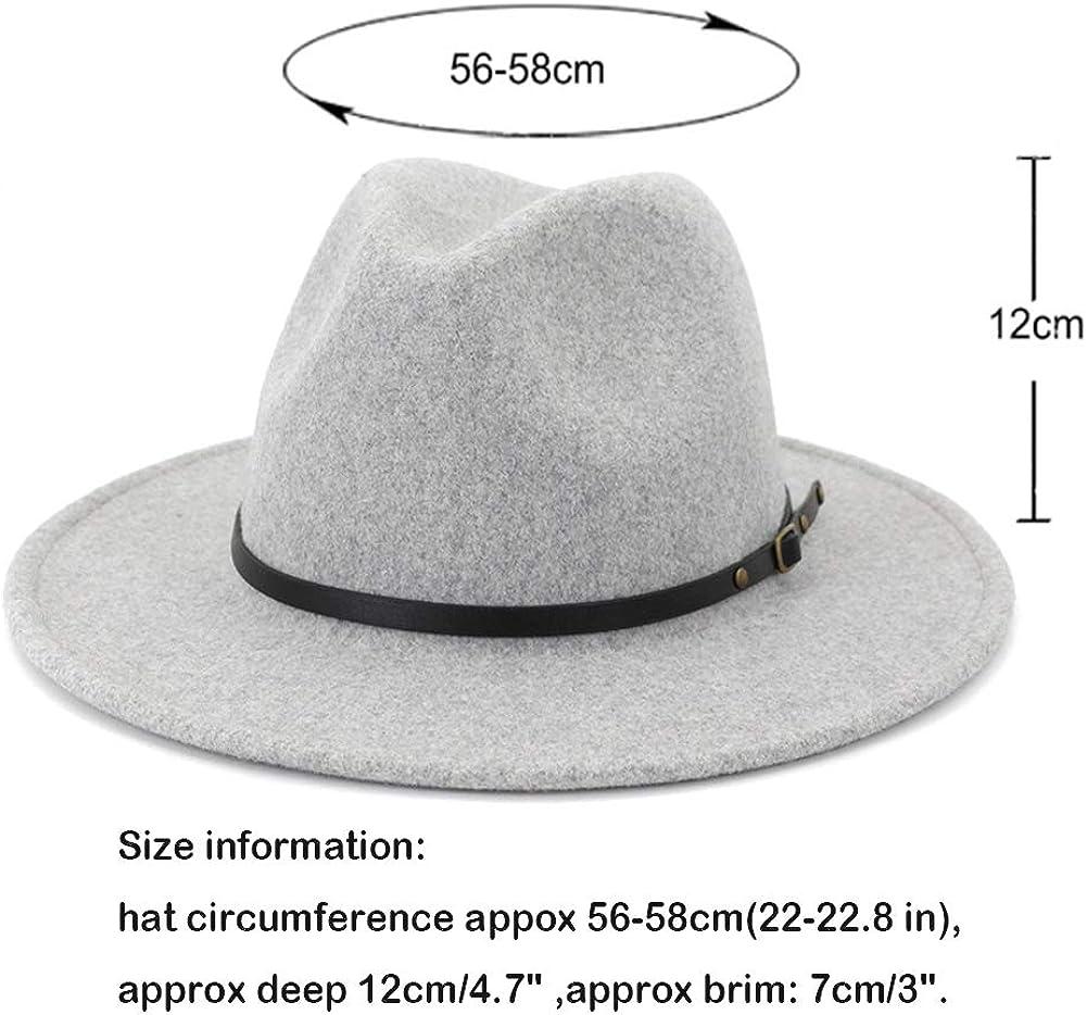 HUDANHUWEI Womens Wool Fedora Hat with Belt Buckle Wide Brim Panama Hat