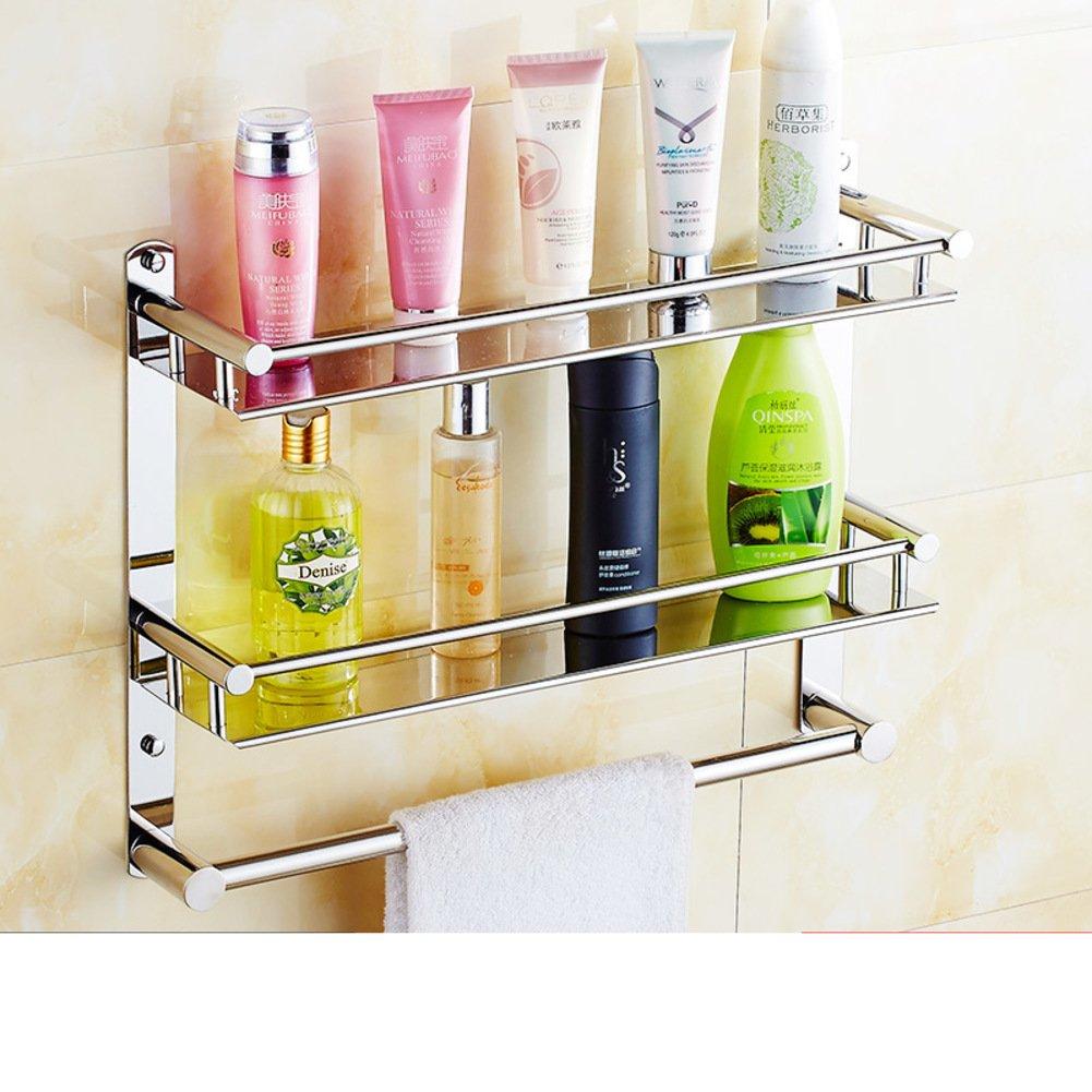 70%OFF Stainless steel bathroom shelf /towel rack/Two-tier pendant with double pole single bars-I