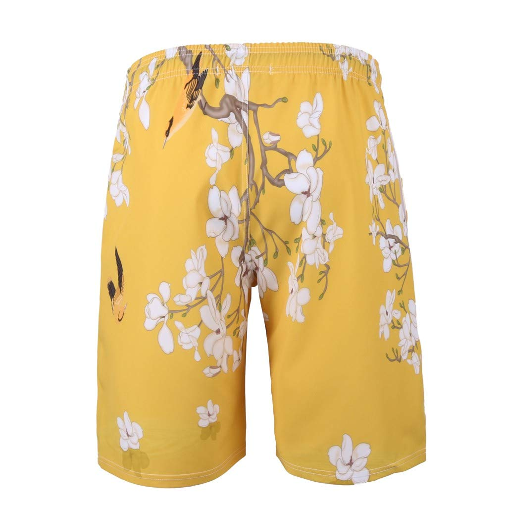 NUWFOR Men's Summer Fashion 3D Printed Shorts Recreational Sports Beach Pants(Yellow,US M Waist:34.25'') by NUWFOR (Image #2)
