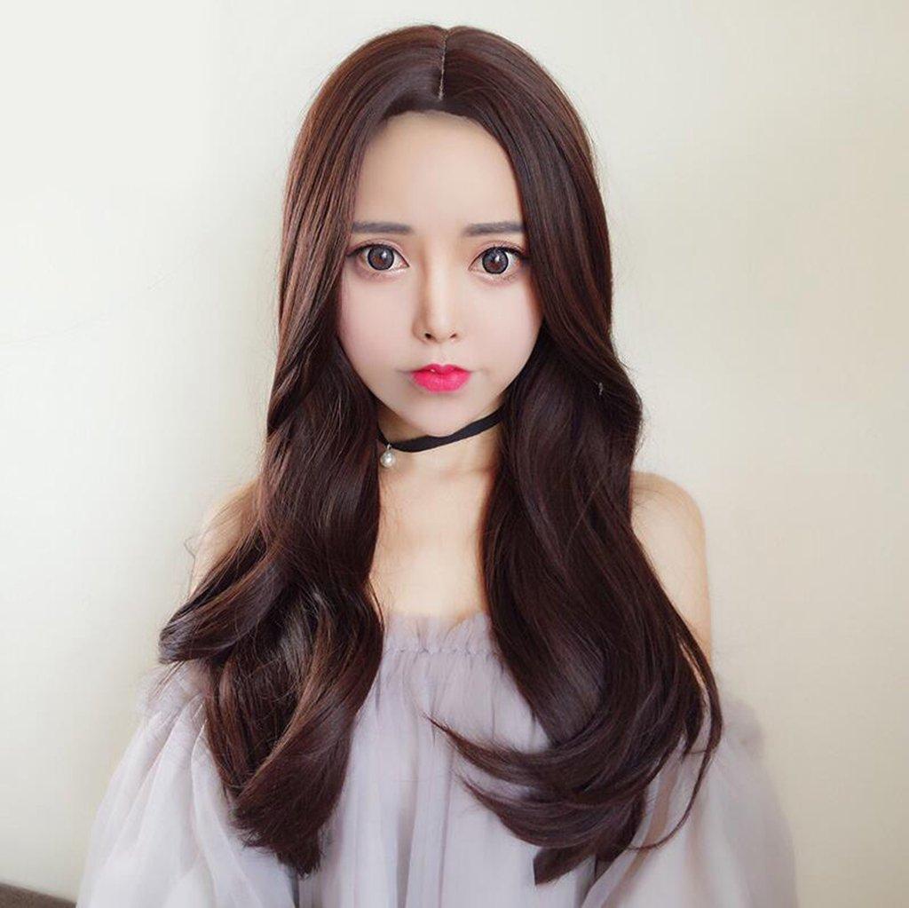 Longless Peluca hembra pelo rizado en la gran ola de toda la parte superior de realismo cabello pera grande falso cuero cabelludo cabello