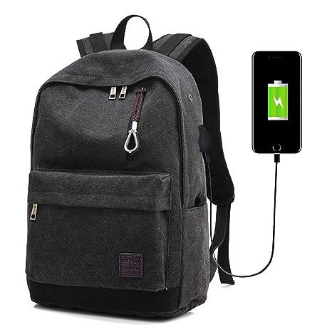 wenKKENGhai Men Backpack Canvas USB Backpacks Casual Laptop Bag Designer  Brand Backpack Travel Bags Black cfe68925d0