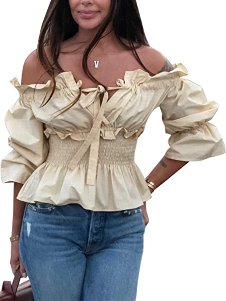 ea2e55280cd25 Miessial Women s Off Shoulder Ruffle Blouse Lace Up Smocked Waist Casual  Top Shirts Beige ...