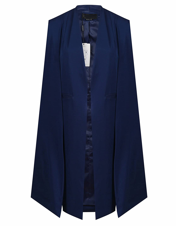 Richlulu Womens Lightweight Buttonless Longline Poncho Blazer Cloak Cape Trench Coat