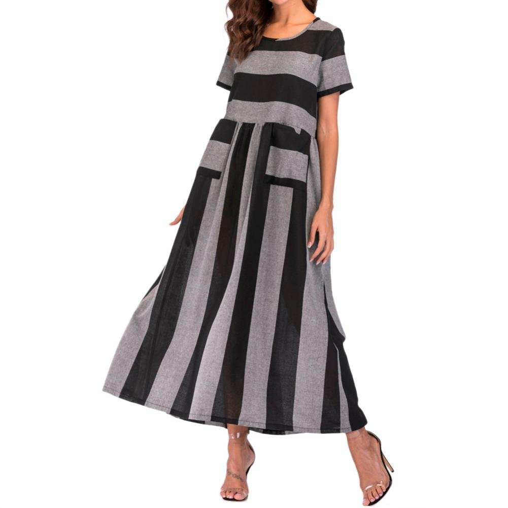 Hmlai Cotton Linen Dress, Women Summer Short Sleeve Striped Loose Dress with Pocket (Black, L)