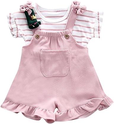 Counjunto de Ropa bebé niña, Linda Camisa de Manga Corta a Rayas de Verano para niñas bebé + pantalón Corto de Tirantes Bebés Conjuntos 6 Mes - 3 Años: Amazon.es: Ropa y accesorios