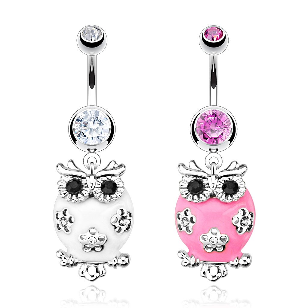 Dynamique 14GA Fluffy Owl Paved Clear /& Black Gem Belly Button Ring 316L Surgical Steel Sold per Piece
