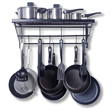 Amazon.com: Wall-mounted Pan Holder Organizer, Bracket And Welding, Including 10 Hooks, Easy To Install, Kitchen Pot Solution For Heavy Pots And Pans: ...