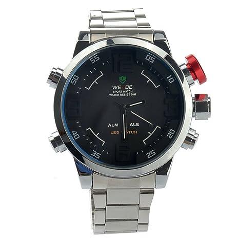 Weide Weide WH-2309 Mens impermeable doble tiempo deportivo reloj Digital LED de cuarzo con