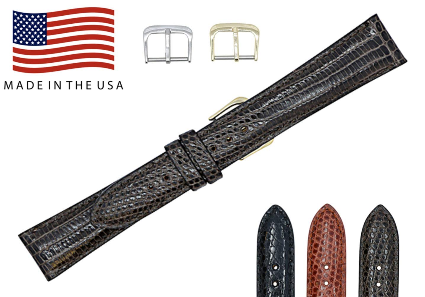 19mm Dark Brown Genuine Lizard - Padded Stitched Watch Strap Band - Gold & Silver Buckles Included – Factory Direct Made in USA by Real Leather Creations FBA339