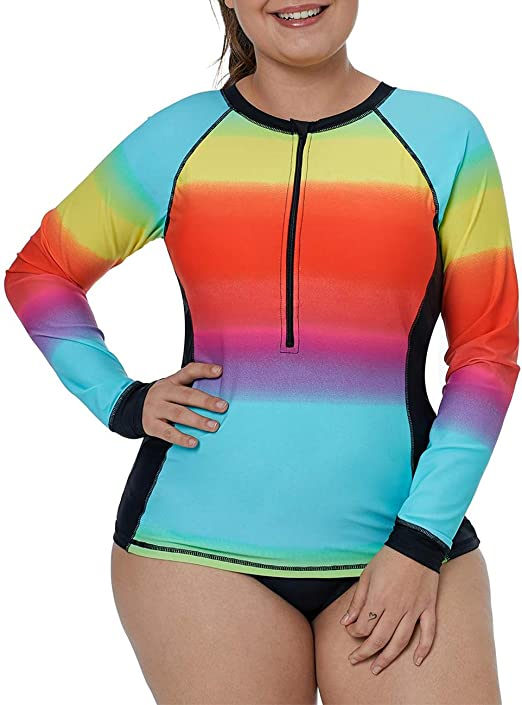 Lalagen Womens Long Sleeve Sun Protection Rashguard Swimwear Athletic Tankini