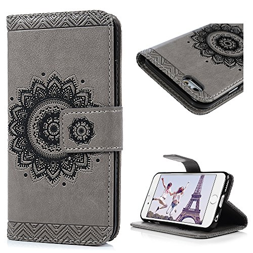 for iPhone 6 Case, Premium PU Leather Wallet Case Embossed Totem Flip Folio Magnetic Book Skin Shell with Credit Card Slots Kickstand Wrist Strap Soft TPU Bumper Full Proteciton for iPhone 6 6S, Gray
