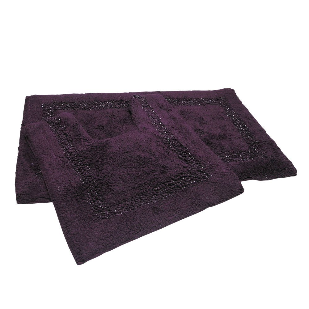 Diamante Sparkle 100% Cotton Heavyweight 2 Piece Bath Mat & Pedestal Bathroom Toilet Set Black (Standard) Tony's Textiles