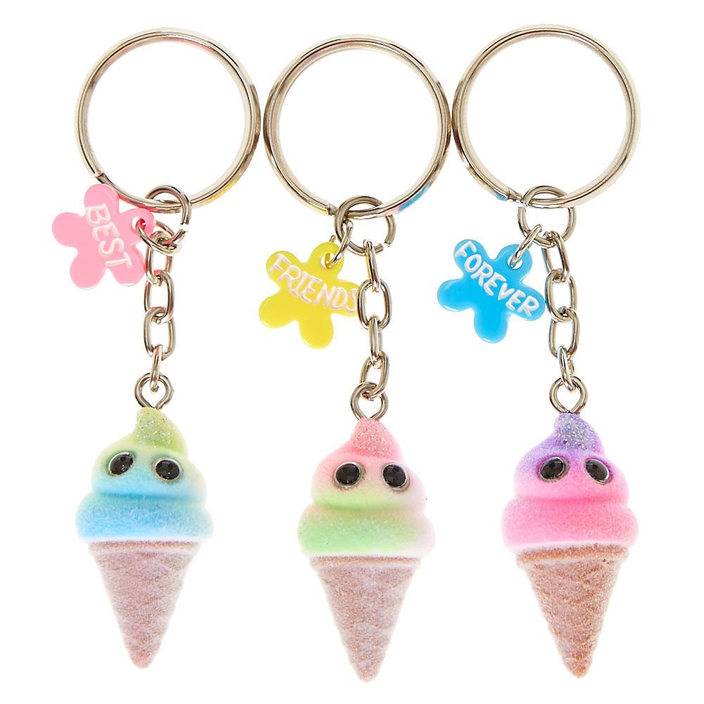 Claire's Girl's Best Friends Forever Ice Cream Keyrings - 3 Pack: Claire's:  Amazon.co.uk: Clothing