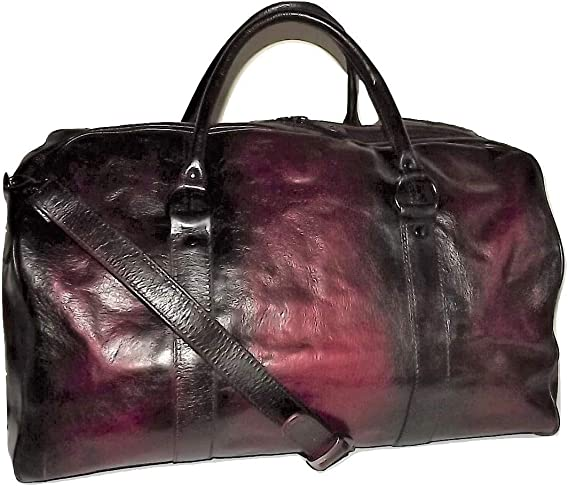 I Medici of Florence Vintage Italian Leather Duffel Bag with Laptop Pocket Merlot