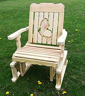 Pressure Treated Pine Designs Unfinished Outdoor Butterfly Cutout Glider Chair