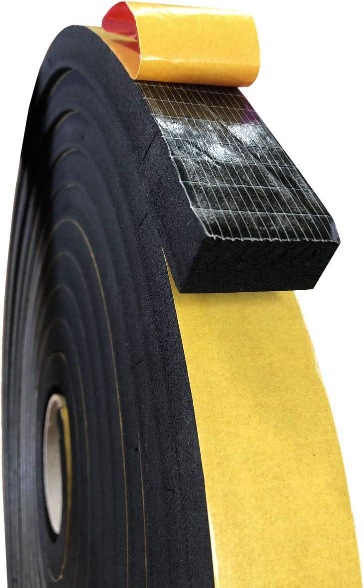 Espuma de caucho microcelular EPDM con adhesivo a una cara, sellados para puertas y ventanas, aislamiento carpintería y cerramientos, cuadros eléctricos… (20X20) mm (5 m)