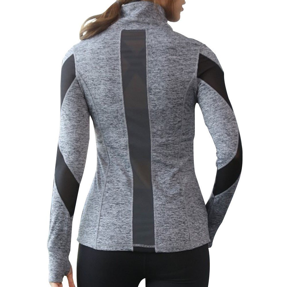 Women Slim Fit Athletic Running Yoga Fleece Lined Full-Zip Hand Pockets Turtleneck Workout Track Jacket (XS/S, Gray)
