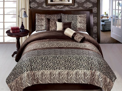 JBFF Bed in Bag Safari Zebra Giraffe Print Micro Fur Comforter Set, King, Brown (Bed And Bag King Size)