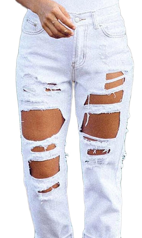PEGGYNCO Christmas Womens Fashion Extreme Rip White Jeans