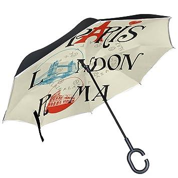 ALAZA París Torre Eiffel Londres puente Roma Coliseo Inverted paraguas paraguas plegable de doble capa resistente