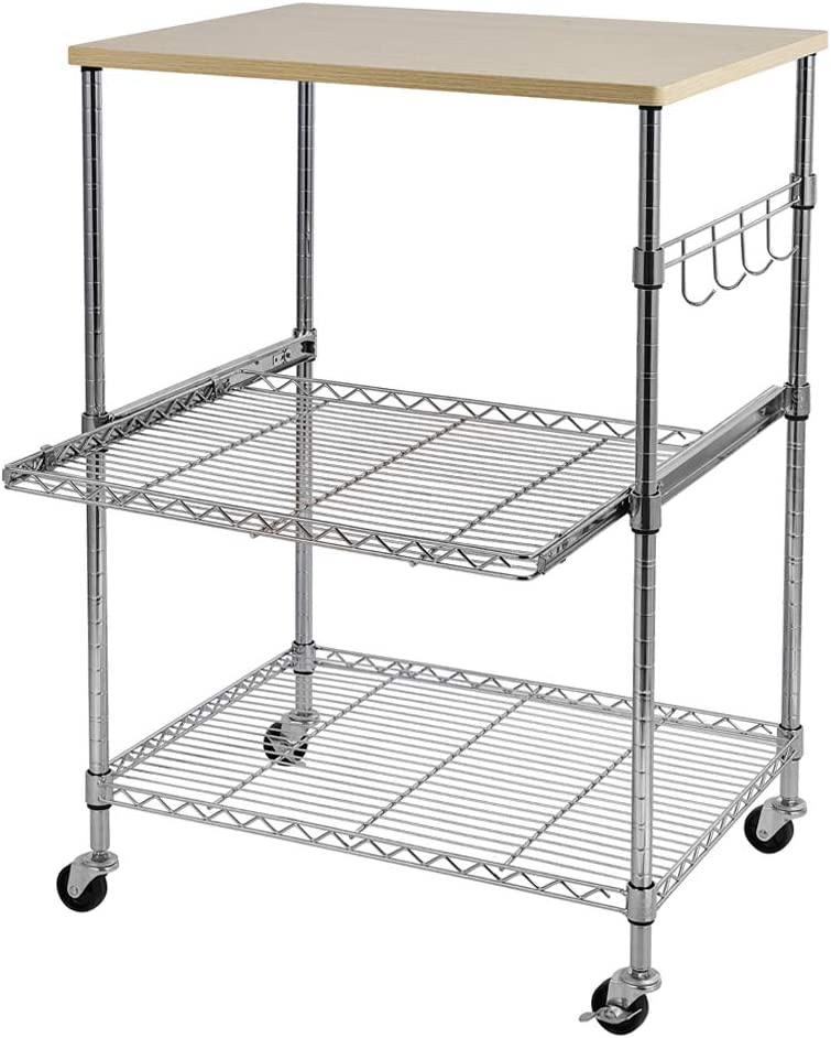 WEI WEI GLOBAL 3-Tier Wire Kitchen Rolling Cart on Wheels, Adjustable Shelves Utility Microwave Stand, Food Service Cart w/Hooks, Wooden Top Storage Metal Rack Organizer -24 x 18.1 x 33.5, Silver