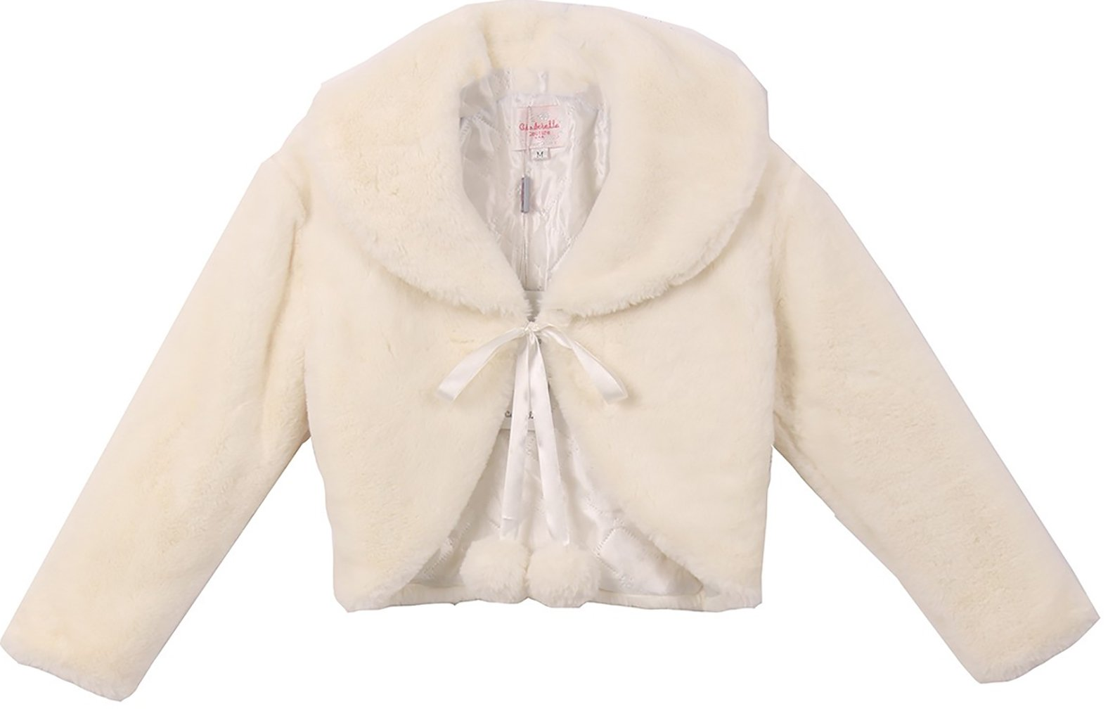 Little Girls Super Soft Peter Pan Collar Fur Coat Flower Girls Knit Cotton Bolero (30C11C) Ivory M