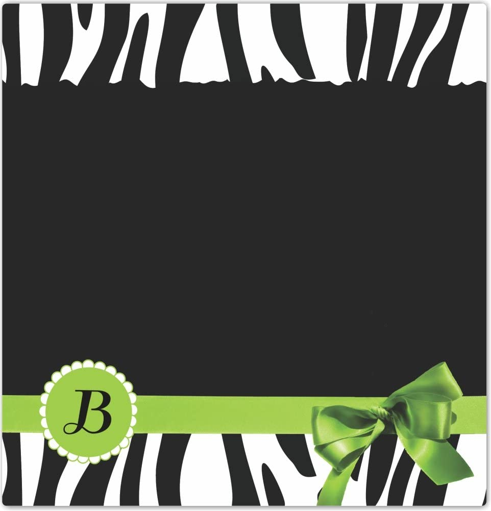 Rikki Knight Letter B Green Zebra Bow Monogram Design Ceramic Art Tile 4 by 4