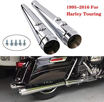 Ultra Limited Classic Chrome Megaphone Slip-On Mufflers Exhaust Pipe For 1995-2016 Harley Touring Dresser Bagger Road Glide Street Glide Road King,Electra Glide