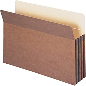 "Smead File Pocket, Straight-Cut Tab, 3-1/2"" Expansion, Legal Size, Redrope, 25 per Box (74224)"