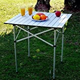 Dtemple 26.5 x 17.55 x 21.84 inch Aluminum Folding Square Table, Adjustable Collapsible Card Table for Garden Picnic Party Camping (US STOCK)