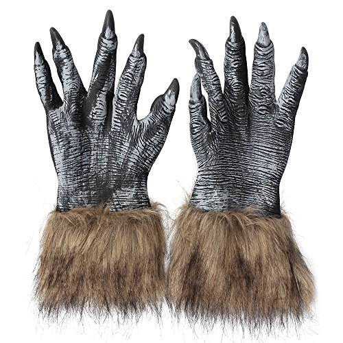 LUCKSTAR Wolf Gloves - Halloween Latex Wolf Gloves Scary Hairy Hands Werewolf Paw Party Costumes Props for Halloween and Cosplay Costume Party Christmas (Black)