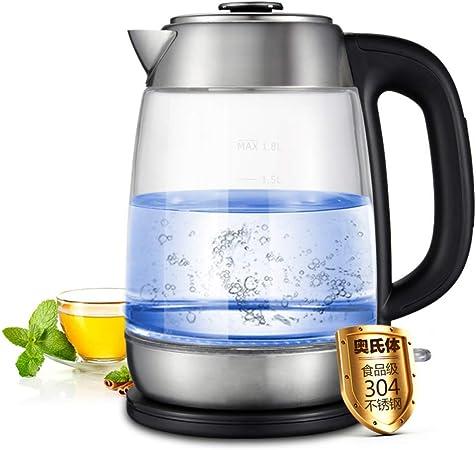 ZHANGM Tetera de Vidrio eléctrico sin cordón, Vidrio de borosilicato sin BPA, cafetera de 1, 8 litros sin Cable con luz LED, Ideal para Preparar té: Amazon.es