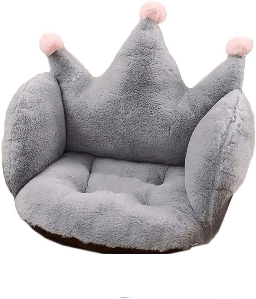 ARTBECK Chair Cushion Plush Faux Rabbit Fur Crown Desk Chair Cushion Soft Thicken Seat Pads Cushion Chair Pad for Office, Chair, Home or Car Sitting (Grey, 22W x 16L x 16H)