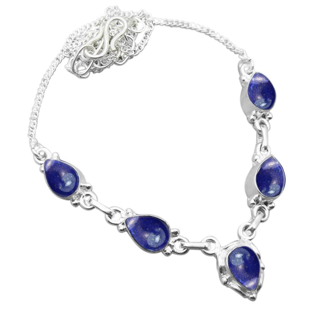 925 Silver Plated 6.50ctw Genuine Lapis Necklace