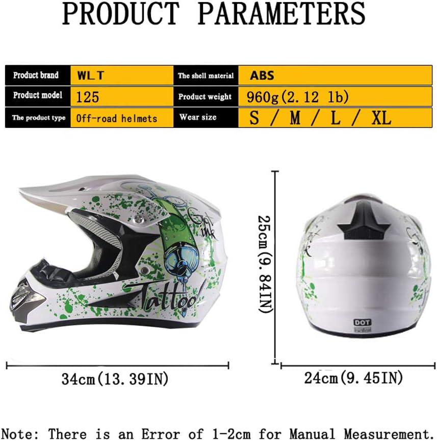 SanQing Motorrad-Sturzhelm Handschuhe, Schutzbrille, Schutzmaske, 4-teiliges Set Renn Motocross Fahrradhelm Vier Jahreszeiten universal Jugend Kinder Dirt Bike Helme