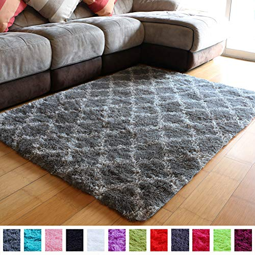 Super Soft Fluffy Shag Modern Moroccan Geometric Trellis Floor Area Carpets Furry Lattice Fuzzy Rugs Decorative Shaggy Rug for Bedroom Living Room Plush Patterned Rugs 5x4 Feet (Grey and White)